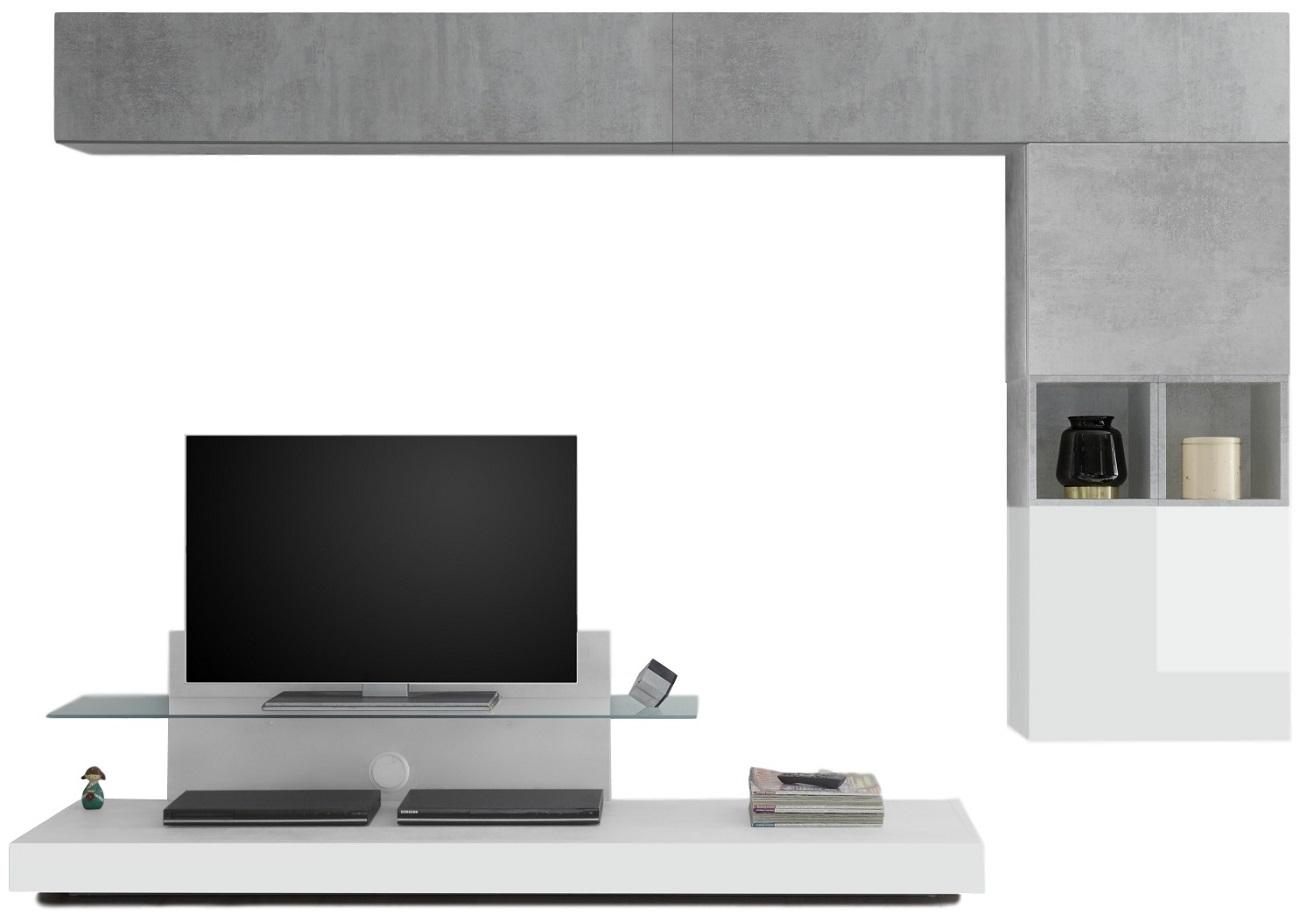 TV-wandmeubel set Chanel in hoogglans wit met grijs beton   Pesaro Mobilia