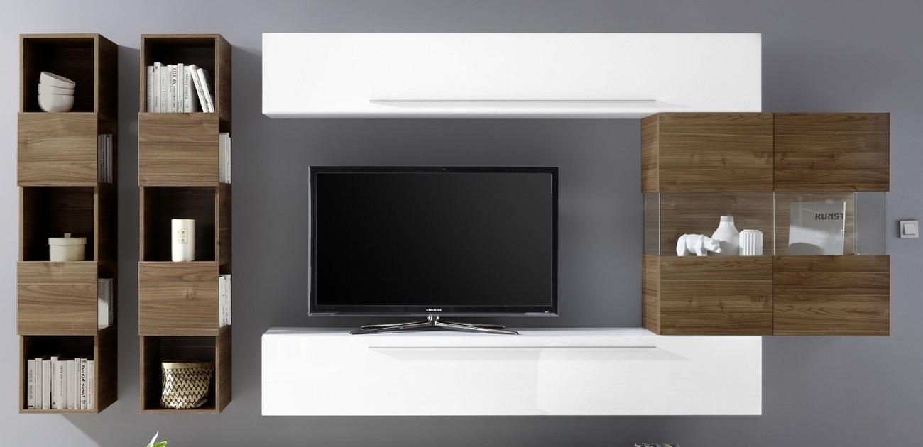 TV-wandmeubel set Feder in hoogglans wit met walnoot | Pesaro Mobilia