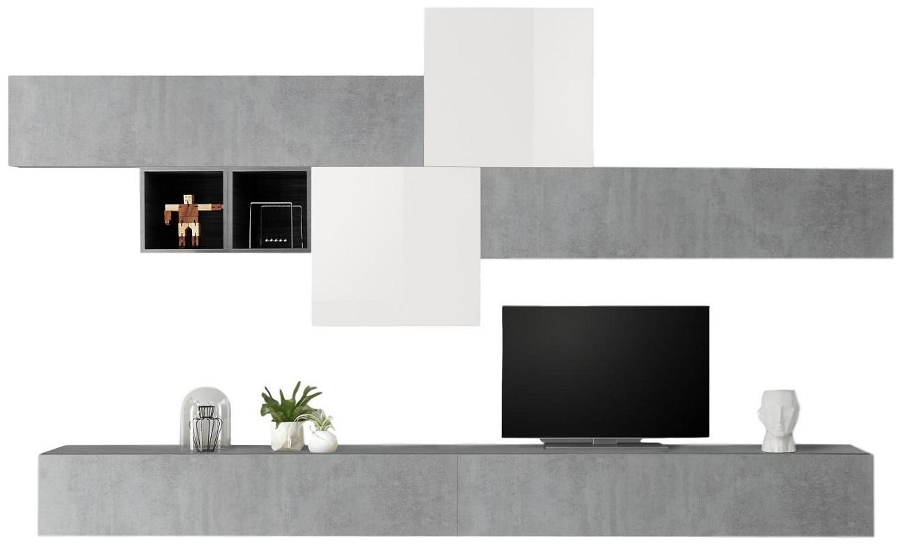 TV-wandmeubel set Gilly in hoogglans wit met grijs beton   Pesaro Mobilia