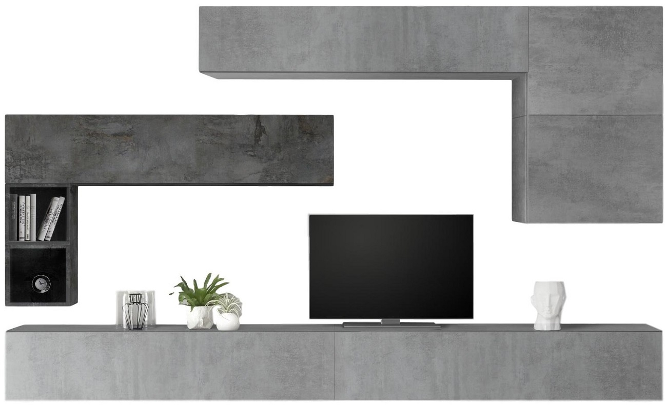 TV-wandmeubel set Linux in grijs beton met oxid | Pesaro Mobilia