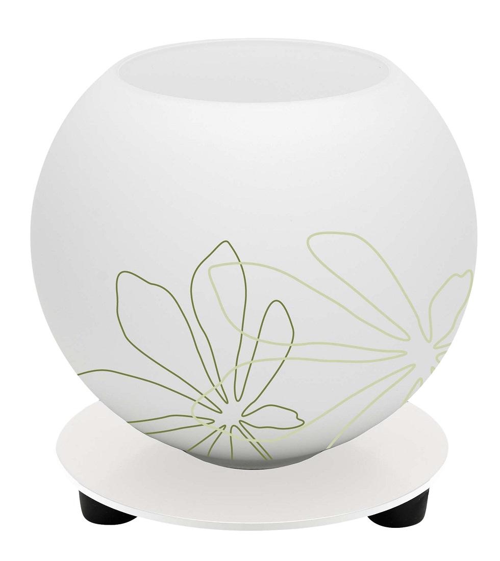 Tafellamp Motief 14 cm hoog in wit met groen bloemmotief | Brilliant