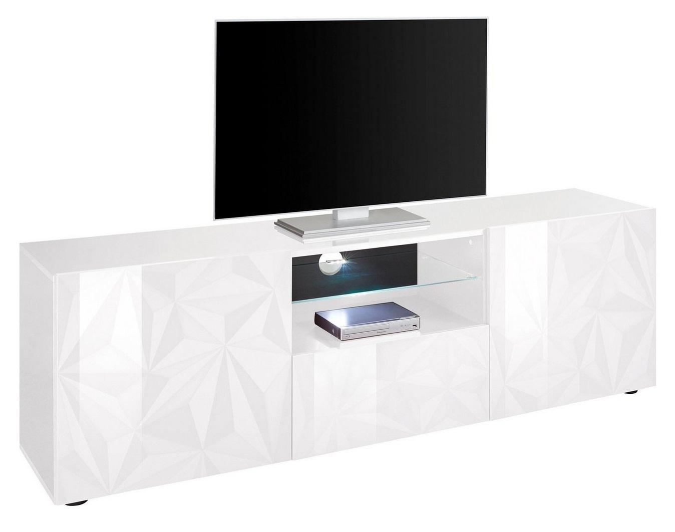 Tv-meubel Kristal 181 cm breed in hoogglans wit   Pesaro Mobilia