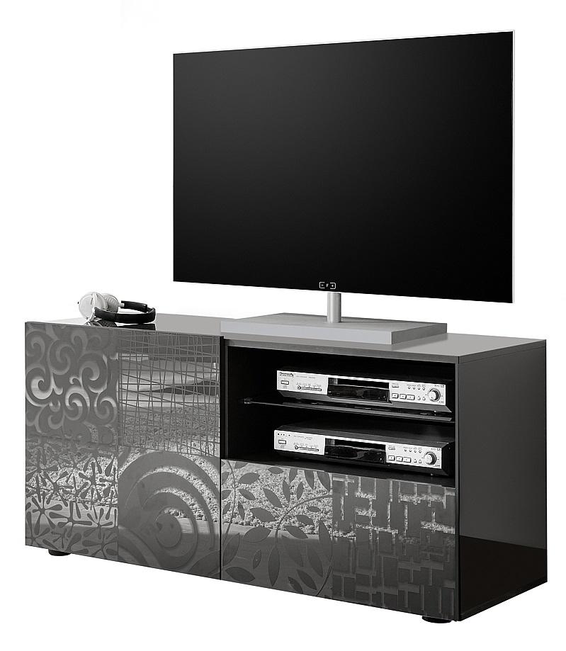 Tv-meubel Miro 121 cm breed in hoogglans antraciet   Pesaro Mobilia