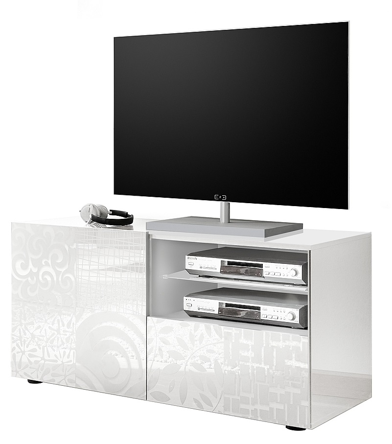 Tv-meubel Miro 121 cm breed in hoogglans wit   Pesaro Mobilia