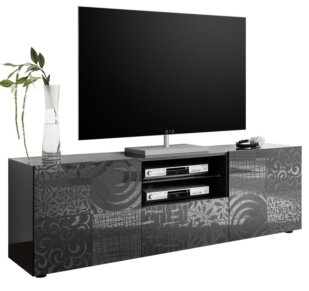 Tv-meubel Miro 181 cm breed in hoogglans antraciet   Pesaro Mobilia