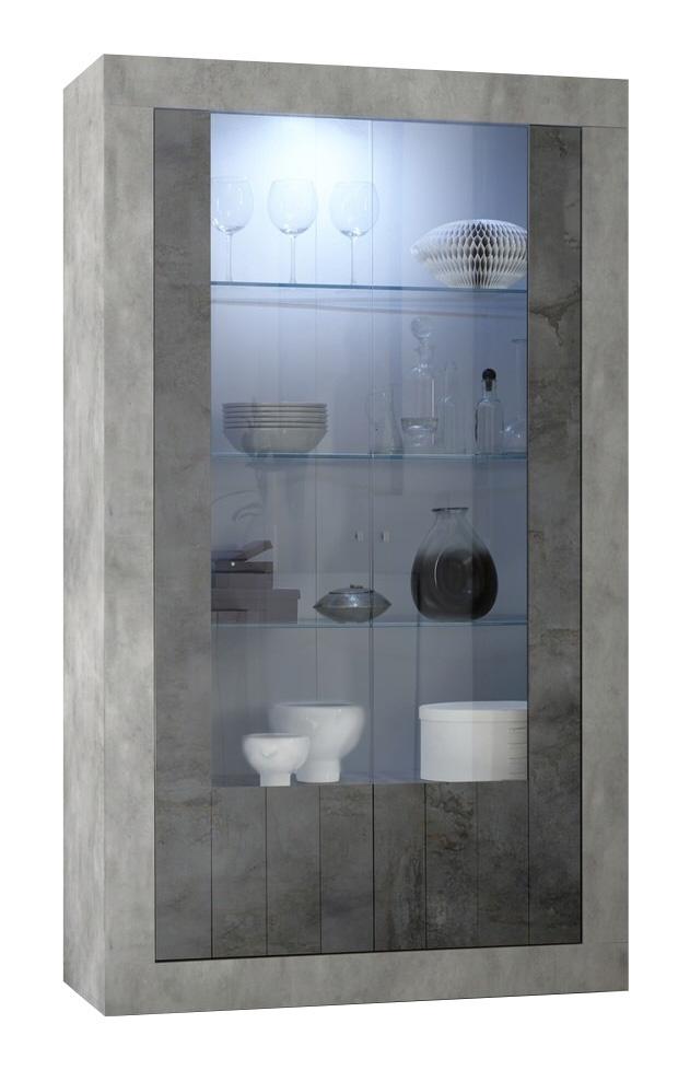 Vitrinekast Urbino 190 cm hoog in grijs beton met oxid | Pesaro Mobilia