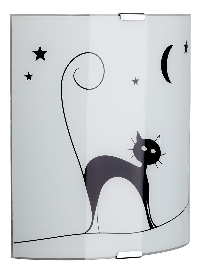 Wandlamp Cat 1xE27 60Watt in wit met zwart | Brilliant