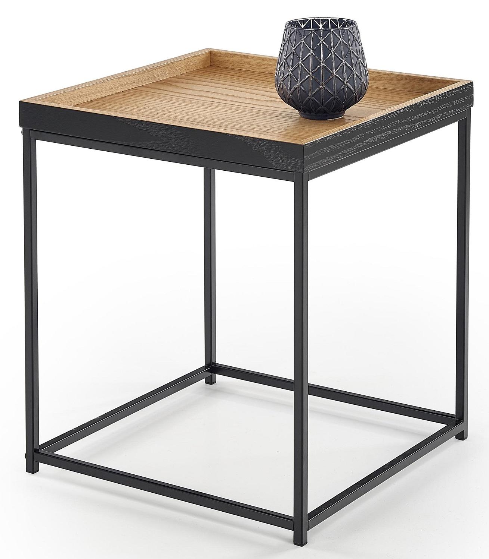 Bijzettafel Yava 42x49x42 cm breed in natuurlijk eiken met zwart | Home Style