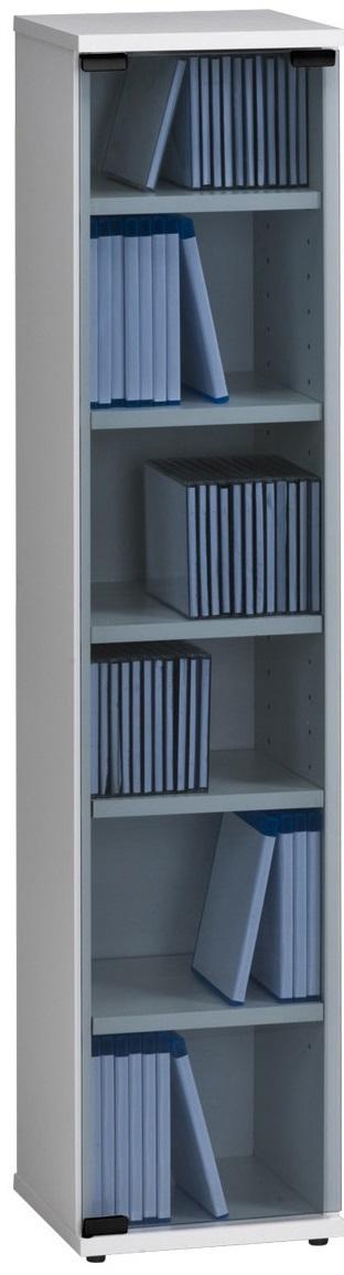 CD DVD kast Maya 110 cm hoog in wit   Bermeo