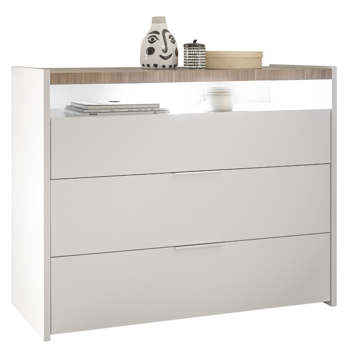 Commode Amalti 95 cm hoog in mat wit met Stelvio walnoot | Pesaro Mobilia