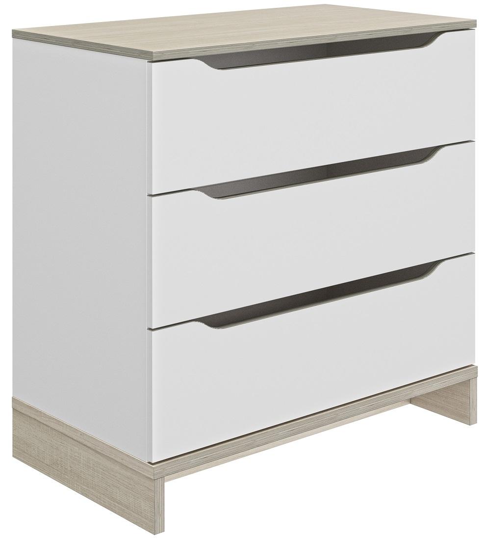 Commode Gray 81 cm hoog in wit met eiken   Gamillo Furniture