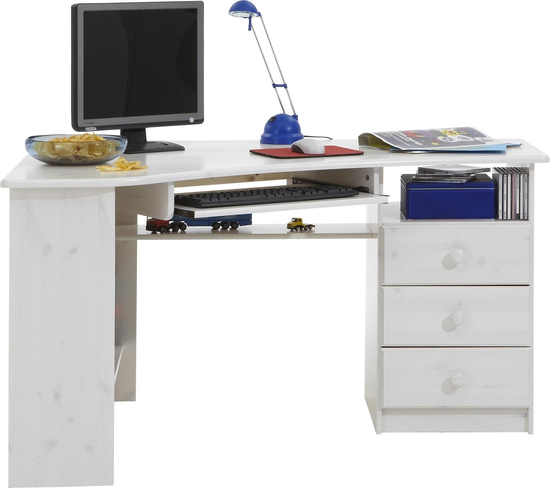 Computer hoekbureau Mario 133 cm breed in wit whitewash | DS Style