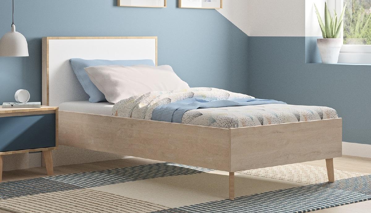 Eenpersoonsbed Larvik 90x200cm in eiken met wit | Gamillo Furniture