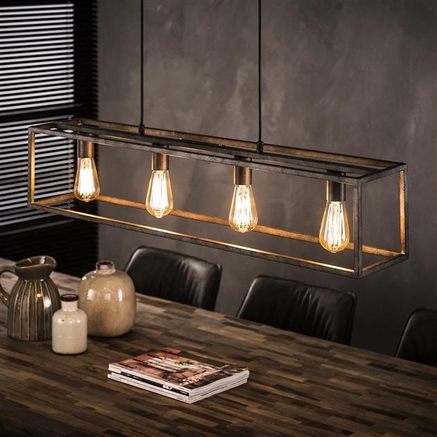 Hanglamp 4L Cubic 98 cm breed – Zilver | Zaloni