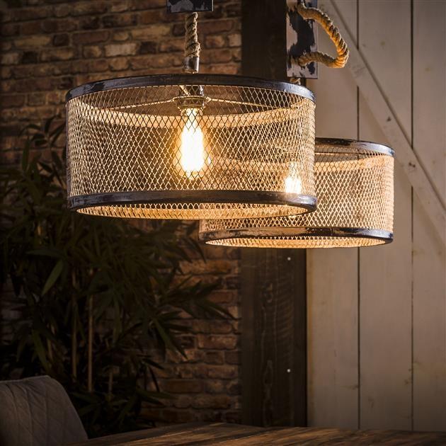 Hanglamp Cody 2LxØ40 van 100 cm breed – grijs | Zaloni
