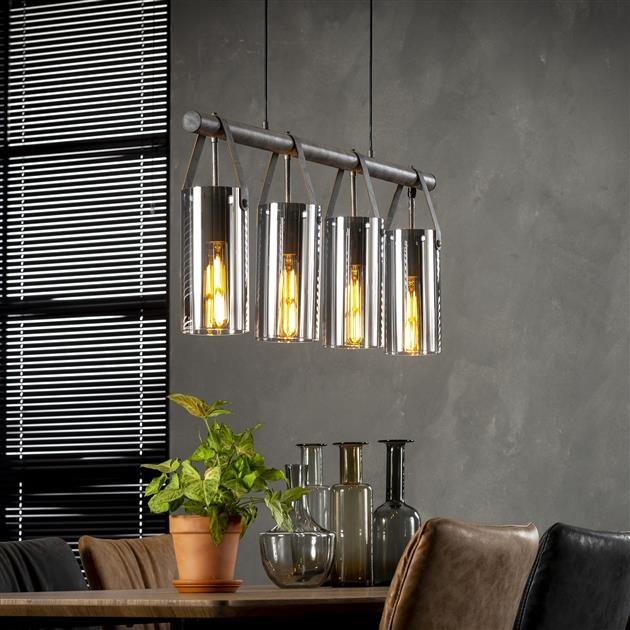 Hanglamp Denny 4L verchroomd glas 100 cm breed – Zilver | Zaloni