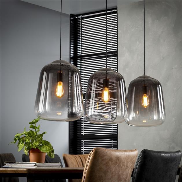 Hanglamp Gottfried 3L verchroomd glas 135 cm breed – Zilver | Zaloni