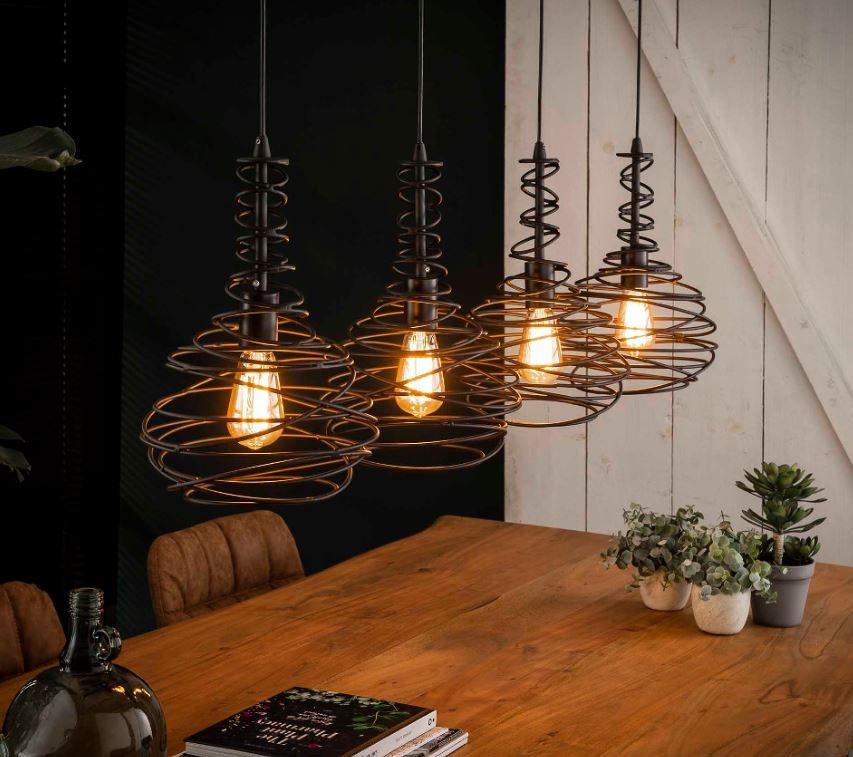 Hanglamp Kegel spin 4xØ25 in zwart | Zaloni