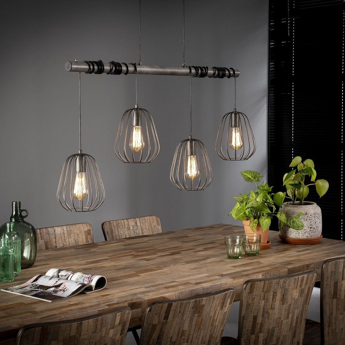 Hanglamp Lampoon 4LxØ18 van 100 cm breed – Zilver | Zaloni