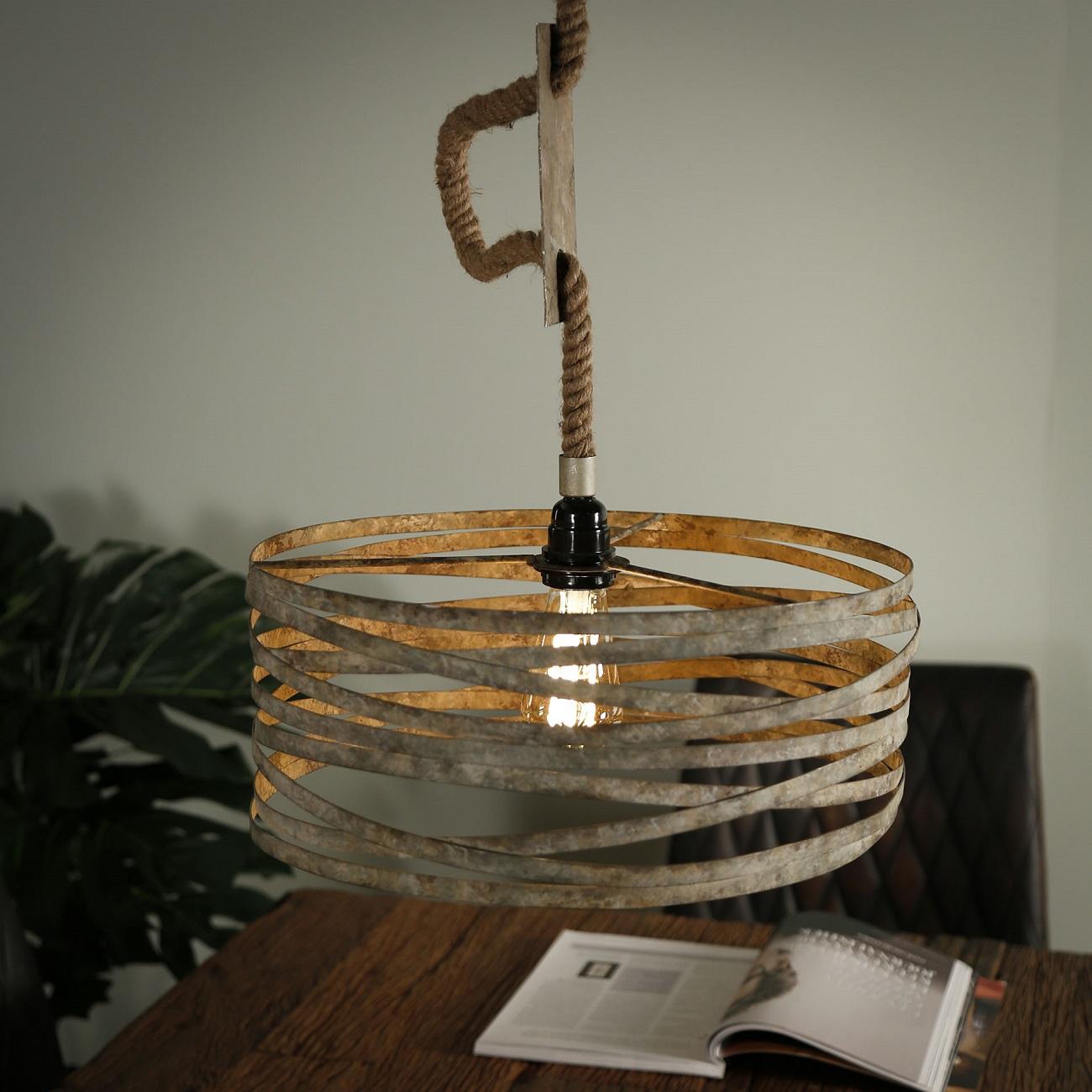 Hanglamp Martin Ø40 van 150 cm hoog in verweerd zink | Zaloni