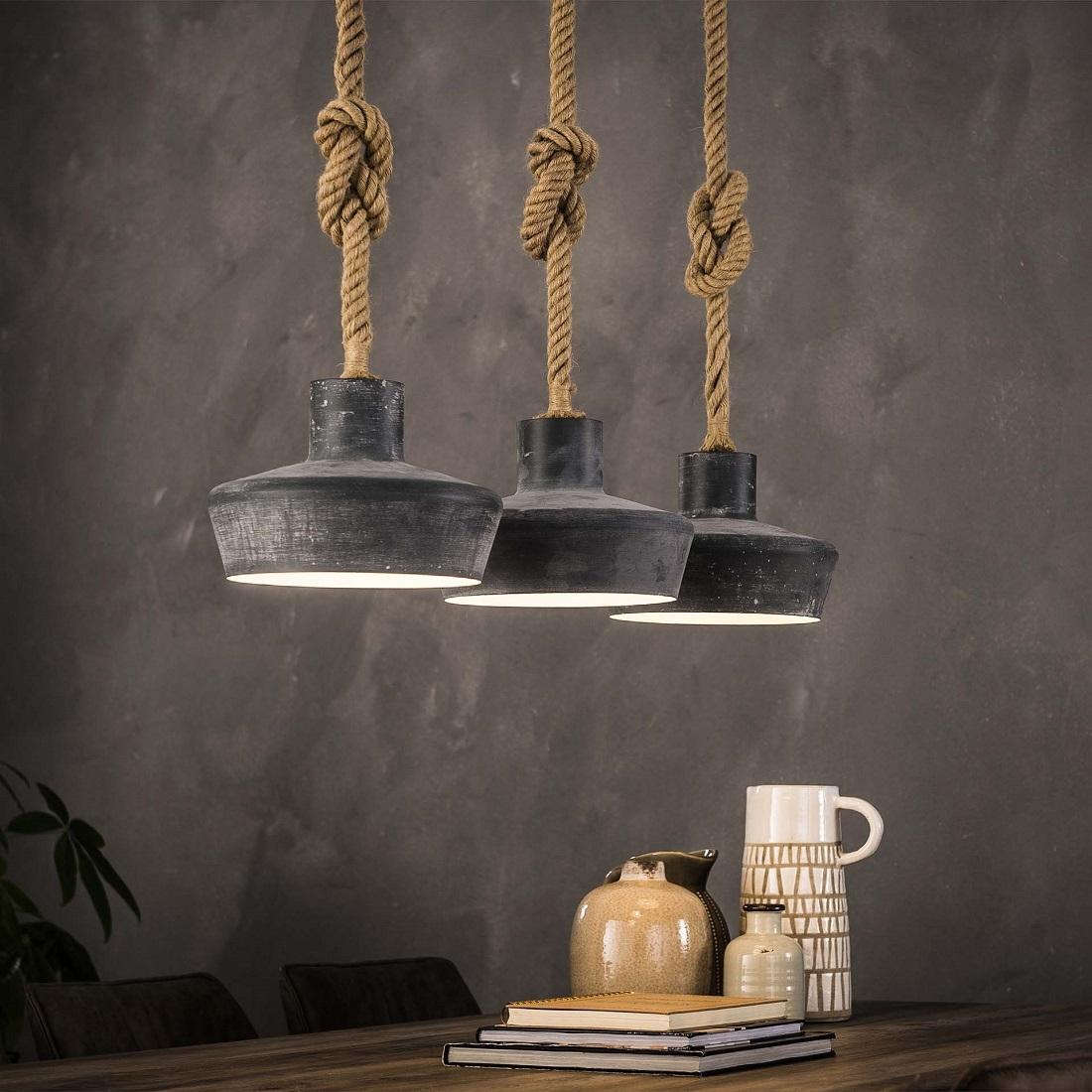 Hanglamp Mykelti 3LxØ28 van 110 cm breed – Grijs | Zaloni