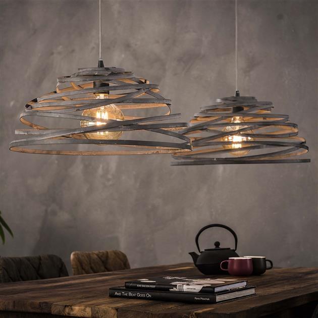 Hanglamp Tornado 2LxØ50 van 140 cm breed – grijs | Zaloni
