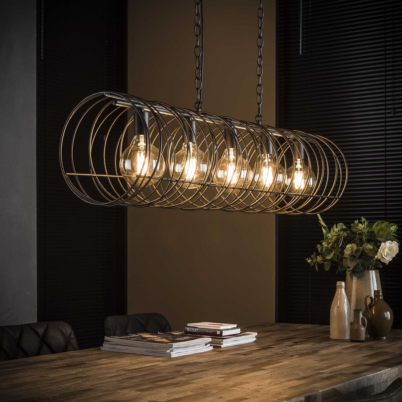 Hanglamp Willy Ø28 van 120 cm breed in charcoal | Zaloni