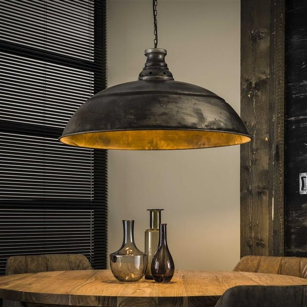 Hanglamp industry 1LxØ80 van 80 cm breed – Oud zilver | Zaloni