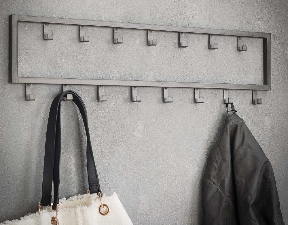 Kapstok Industrial van 80 cm breed met 15 haken – Zilver | Zaloni