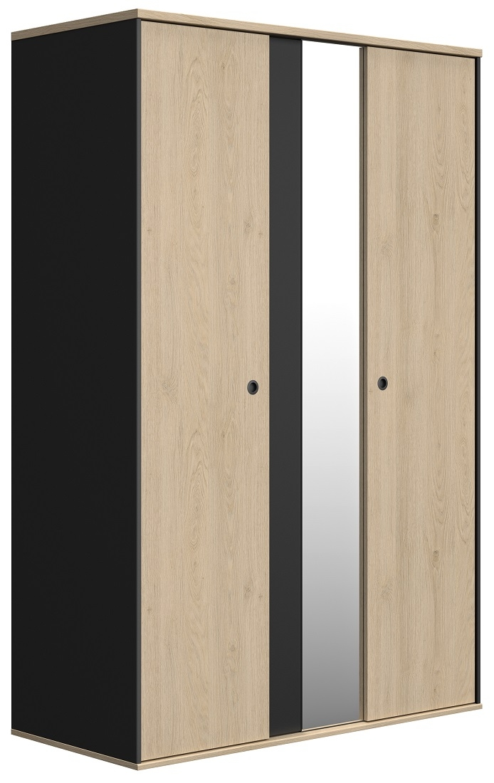 Kledingkast Duplex 130 cm breed in naturel kastanje met zwart | Gamillo Furniture