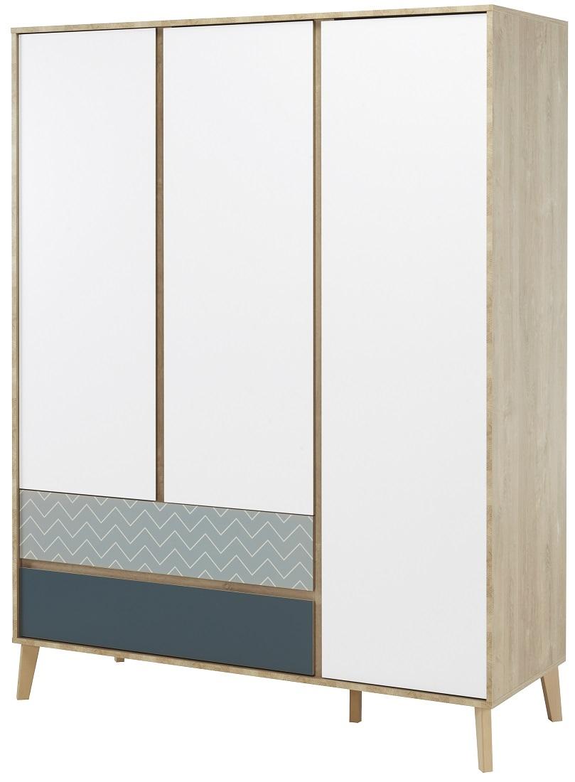 Kledingkast Larvik 153 cm breed in wit met eiken | Gamillo Furniture