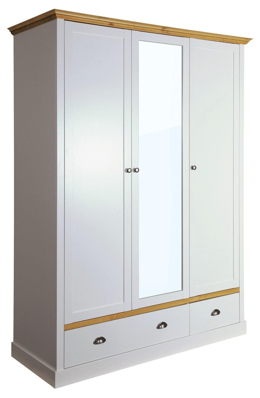 Kledingkast Sander 148 cm breed in lichtgrijs met eiken   DS Style