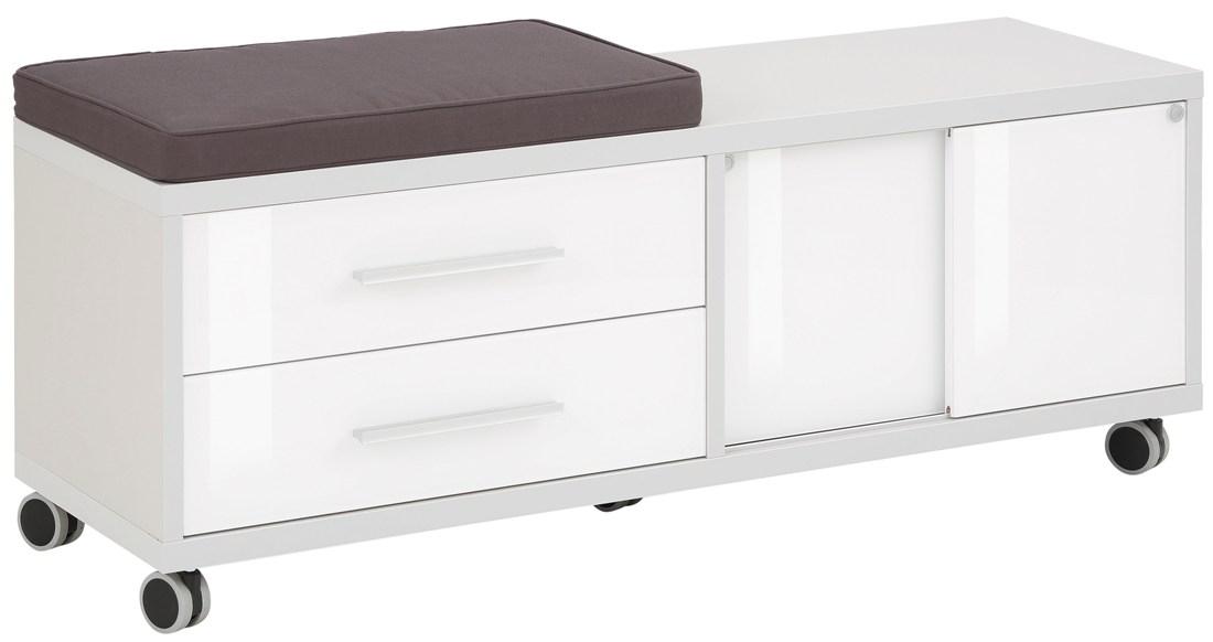 Ladeblok Banco 133 cm breed – Platina grijs met wit | Bermeo