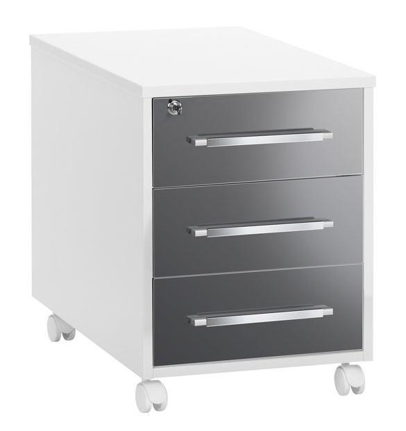 Ladeblok Jones 59 cm hoog – Hoogglans wit met grijs | Bermeo