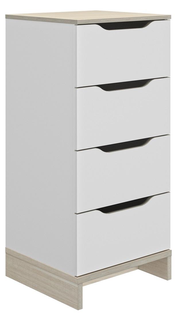 Ladekast Gray 103 cm hoog in wit met eiken | Gamillo Furniture