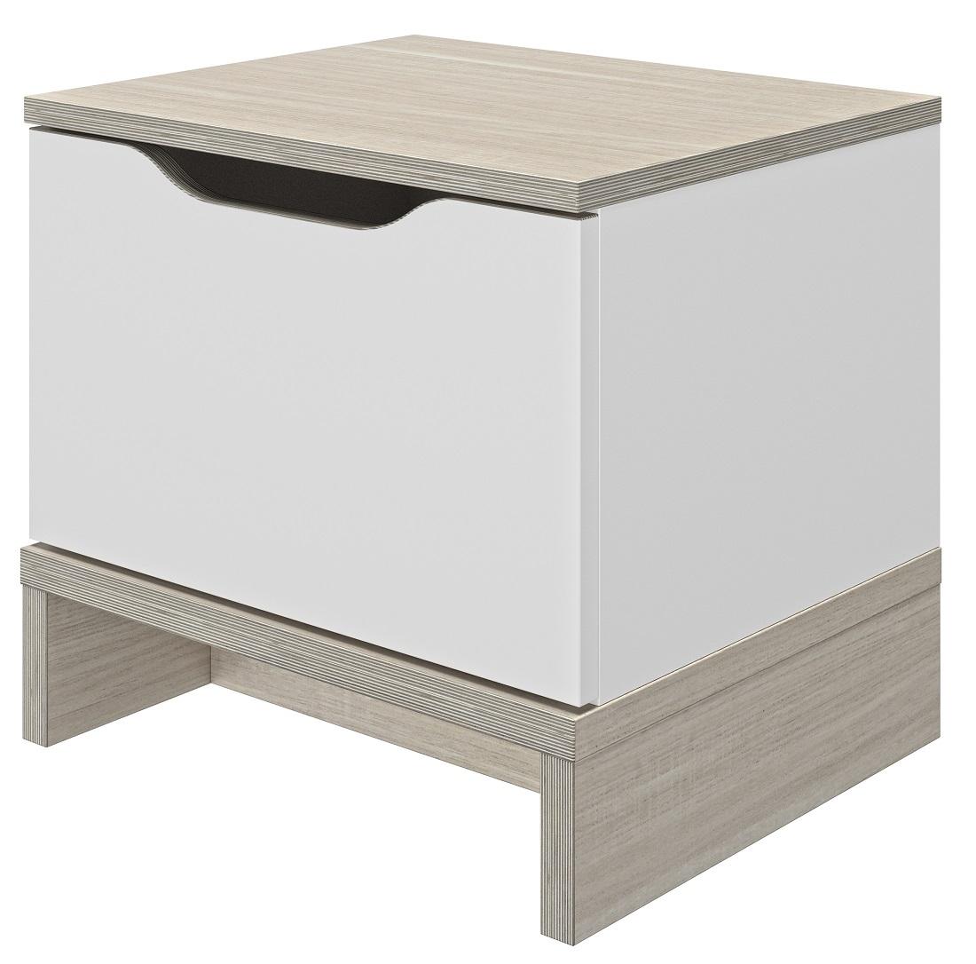 Nachtkastje Gray 39 cm hoog in wit me eiken | Gamillo Furniture