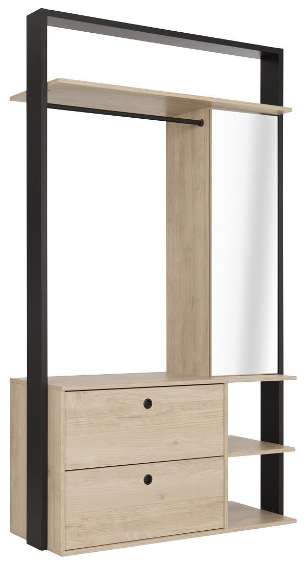 Open kledingkast Duplex 115 cm breed in naturel kastanjehout | Gamillo Furniture