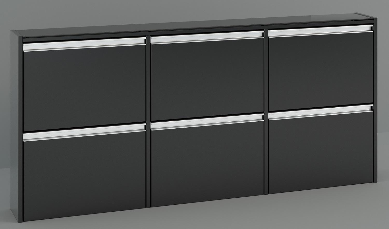 Schoenenkast Skyline 153 cm breed in zwart   DS Style