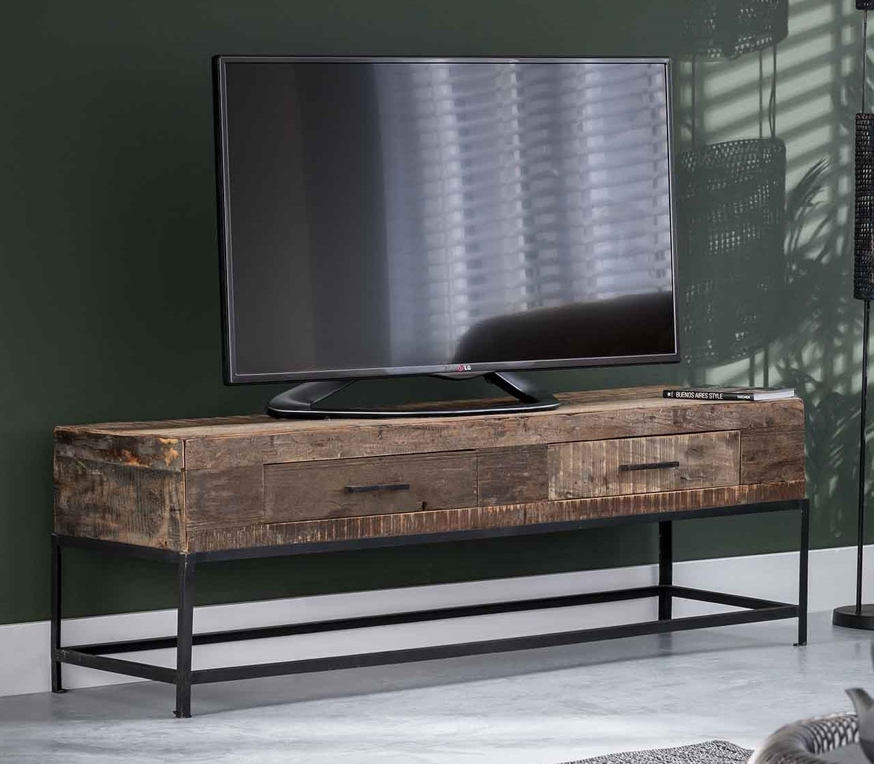 Tv-meubel Lodge 135 cm breed in massief gerecycled hout | Zaloni