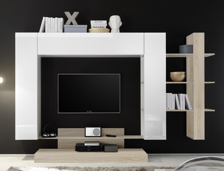 Tv-wandmeubel Jason 259 cm breed in wit met eiken | Pesaro Mobilia
