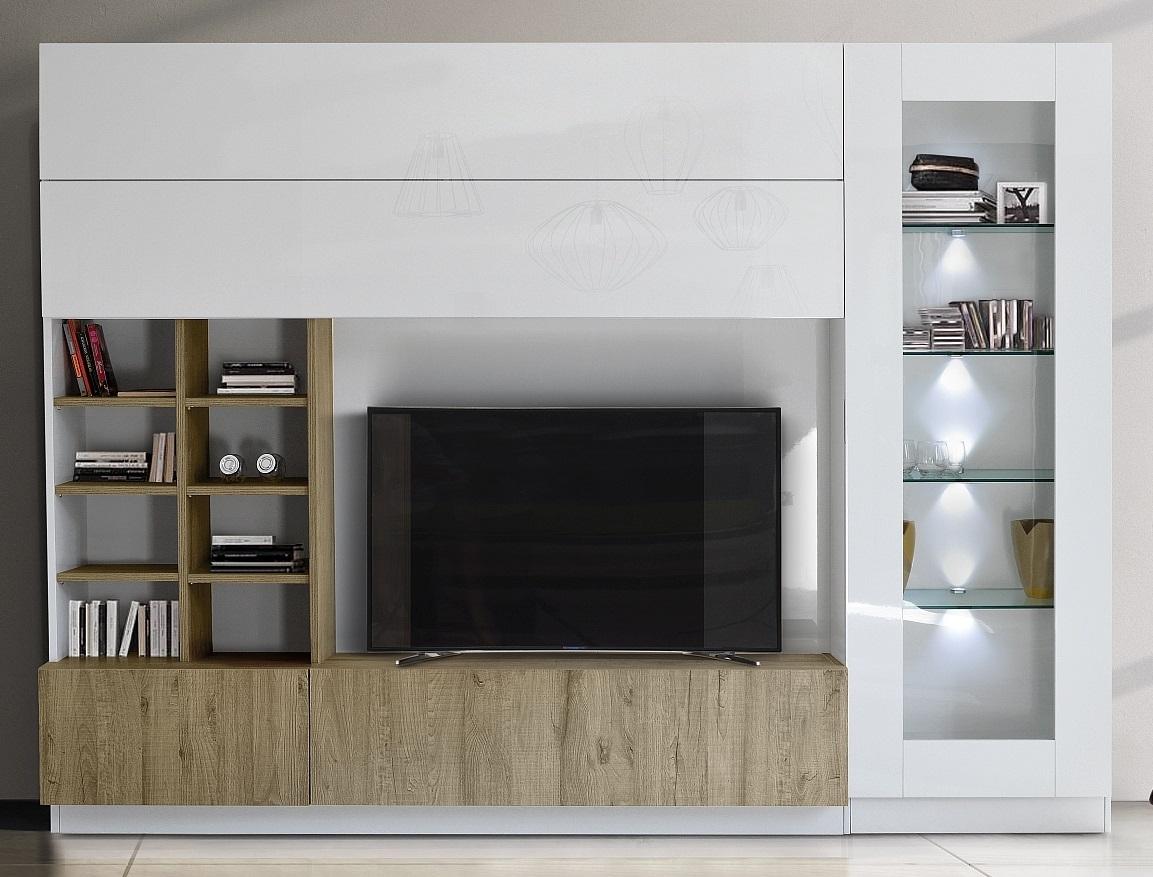 Tv-wandmeubel Line 280 cm breed in hoogglans wit met eiken | Pesaro Mobilia