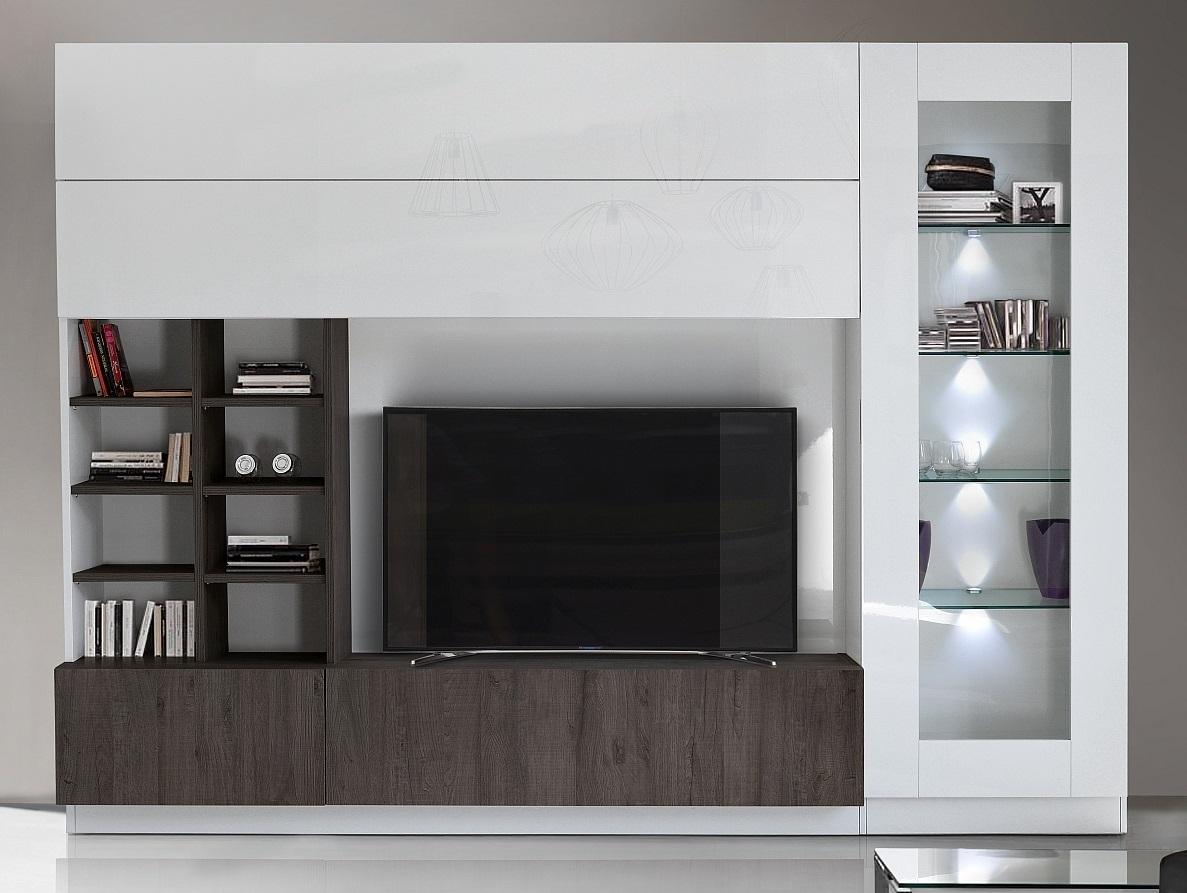 Tv-wandmeubel Line 280 cm breed in hoogglans wit met wenge eiken | Pesaro Mobilia