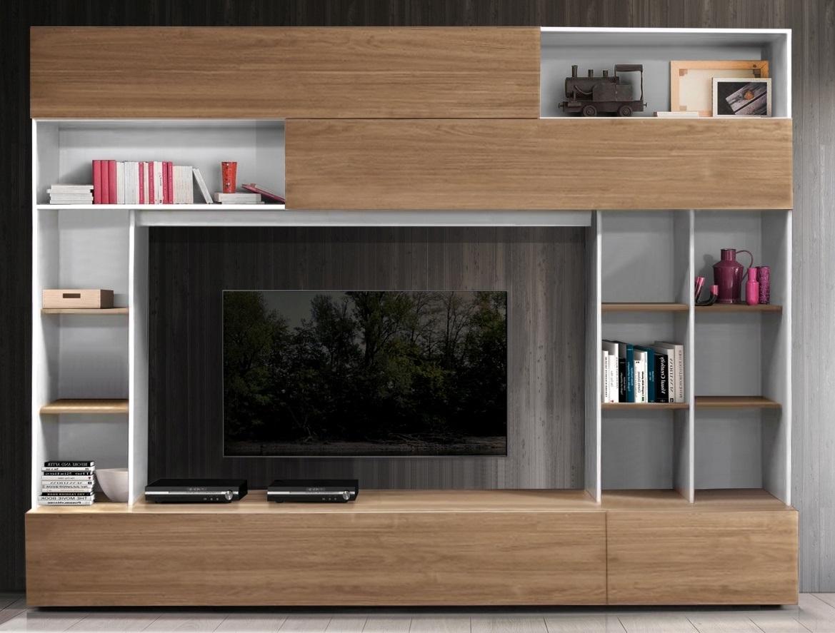 Tv-wandmeubel Tiko 277 cm breed in wit met stelvio walnoot | Pesaro Mobilia