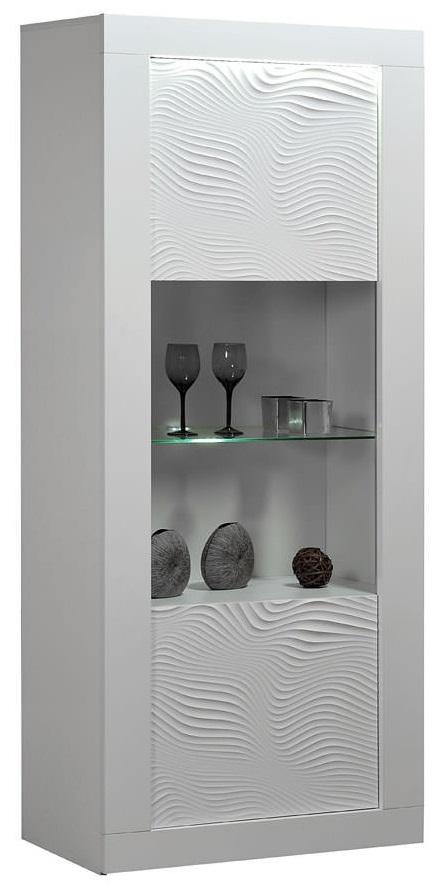 Vitrinekast Karma 190 cm hoog – Hoogglans wit | Ameubelment