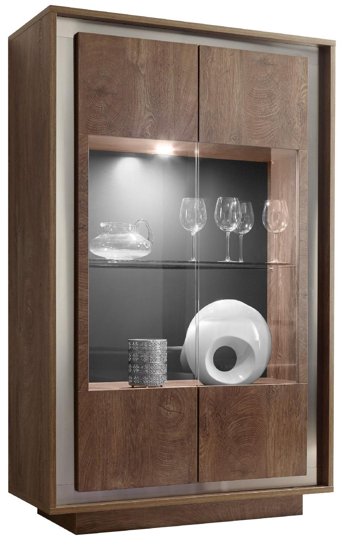 Vitrinekast SKY 171 cm hoog – Cognac bruin | Pesaro Mobilia