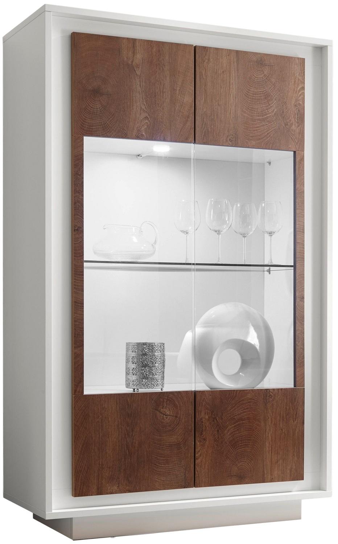Vitrinekast SKY 171 cm hoog – Wit met Cognac bruin | Pesaro Mobilia