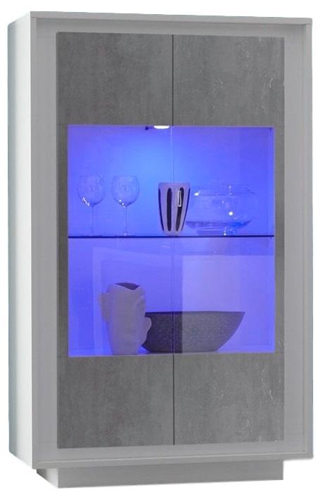 Vitrinekast SKY 171 cm hoog – Wit met Grijs beton | Pesaro Mobilia