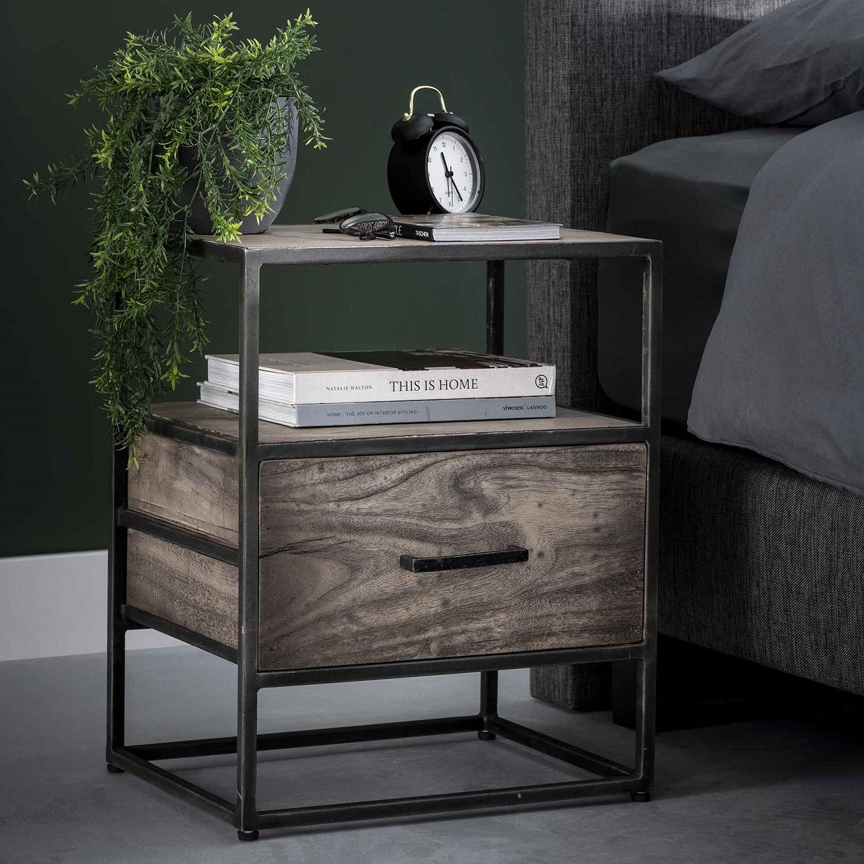 Bijzettafel Zara 55 cm hoog in acacia grijs antiek | Zaloni