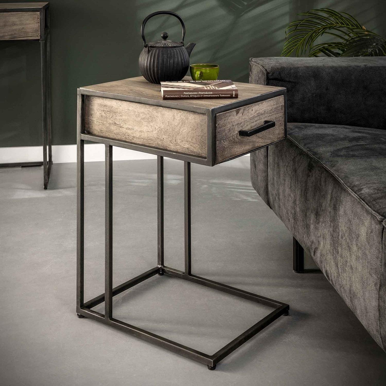 Bijzettafel Zara 60 cm hoog in acacia grijs antiek | Zaloni