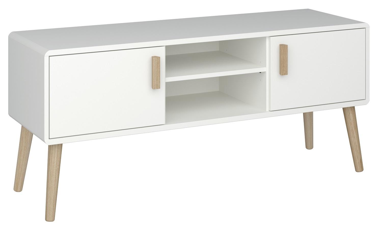 Tv-meubel Pavona 125 cm breed in wit met eiken | DS Style